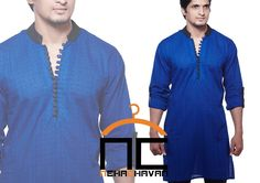 Mens Kurta at Nehachavan - Get this classy look in royal blue self printed short cotton kurta with black buttons and collar detailing.  You can customise this product and get it in a wide range of color combinations to suit your needs. For details simply,EMAIL us the product code MW04 and we will contact you with further details.