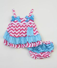 Love this Fuchsia & Blue Chevron Swing Top & Diaper Cover - Infant on #zulily! #zulilyfinds