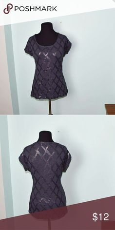 Adorable Grey Crisscross Sequin Blouse In excellent condition. Beautifully made and very stylish. Buy 3 items, get one free plus 15% off your purchase total Tops Blouses