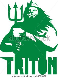 Illustration of triton mythological god holding trident viewed from front set on isolated white background with the word text Triton done in retro style. #Triton #retro #illustration