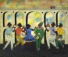 HEITOR DOS PRAZERES - (1898, Rio de Janeiro, RJ - 1966) .Exímio tocador de cavaquinho, chegou a criar um método revolucionário de ensino desse instrumento. Fundou escolas de samba, entre elas a da Mangueira, e notabilizou-se como compositor de música popular. Começou a pintar em meados dos anos 30 e seus temas de eleição eram mulatas, malandros, o samba e o mundo da favela.  Em Londres, um de seus quadros foi adquirido pela rainha.