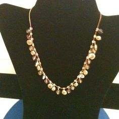 """Necklace w/ bronze/brown/silver beads 16"""" necklace. Very pretty. Great substitute when you're not feeling pearls. Jewelry Necklaces"""