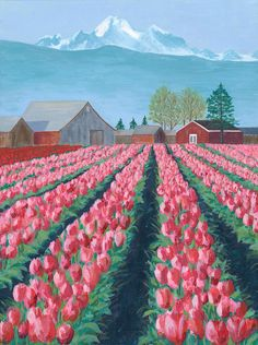 Tulips Greeting Card by Lyn Linder Landscape Art, Landscape Paintings, Tulip Painting, Perspective Art, Garden Drawing, Tulip Fields, Scenery Wallpaper, Cute Art, Creative Art