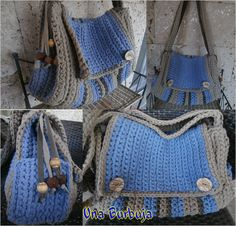 Large crochet postman bag