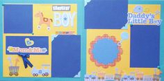 Two baby boy scrapbook pages are ready for your photos. Carefully crafted from cardstock, brads, ribbon, and die cut embellishments - some with glitter. Free shipping in sturdy, protective packaging. Acid free to last generations. This layout with animals, polka dots, and rocking horse will compliment any baby boy photos.