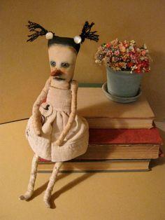 weird art doll, sandy mastroni, creepy dancer doll, bizarre,stitched linen, spooky odd