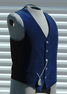 : conductor?  (Blue Velveteen Mens Medium Steampunk Vest by OLearStudios on Etsy, $63.00)