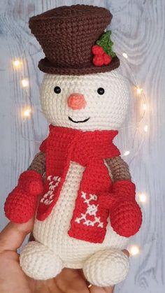 Snowman crochet pattern, Amigurumi toy crochet pattern in English, DIY toy snowman for baby - Lamigurumi Toys Shop - Crochet Christmas Gifts, Crochet Christmas Decorations, Christmas Knitting, Handmade Christmas, Christmas Diy, Free Christmas Crochet Patterns, Snowman Decorations, Crochet Snowman, Crochet Santa