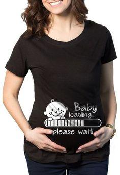 Camiseta Adulto De Gestantes Grávidas, Engraçadas Personalizadas Baby Loading Criativa Urbana Preto