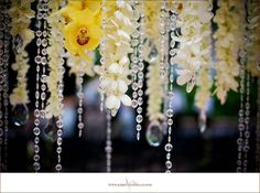 Flowers, Reception, White, Yellow, Orchids, Crystals, Inviting occasion, Garlands