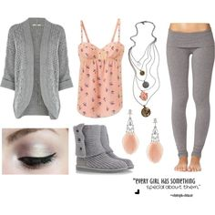 """Grey, Peach, Boots, Yoga Pants, Necklaces (:"" by boogitygirl on Polyvore"