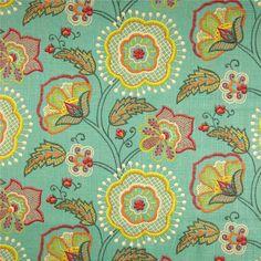 Cimmaron Mallard Aqua Floral Drapery Fabric by Richloom - SW52061 - Fabric By The Yard At Discount Prices