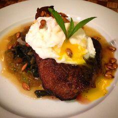 Tandori Spice Steak with Poached Egg over Butternut Squash Puree