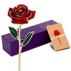 24 Gold Plated Rose Everlasting Crystal Anniversary Lover Mother Girlfriend Gift
