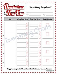 New Year's Resolutions  PDF File/Printable by EverythingCharts, $1.99
