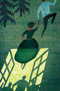 carnetimaginaire: Masako Kubo The Blue Castle' inside illustration Art And Illustration, Gravure Illustration, Illustrations Posters, Guache, You Draw, Art Graphique, Art Design, Painting & Drawing, Illustrators