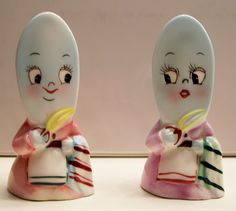 Adorable Vintage Anthropomorphic PY Iron Girls Salt & Pepper Shakers