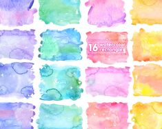 Watercolor Rectangles Clipart: 16 Digital files. by OctopusArtis