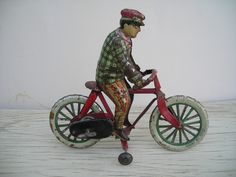 "Early Prewar Japan 1910 Big 7"" (18 cm)  Clockwork Tin Toy Bicycle Motorcycle"