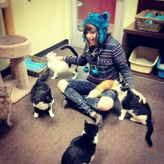 emo boy and cats