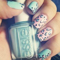 Cheetah Nails #nails #nailart #Essie #pastel #blue #pink #polish - bellashoot.com