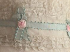 "Antique Flapper Ribbonwork Rosebuds and Lace - Romantic Bohemian Style Belt or Headband ""Something Blue"" Ribbon Work Wedding"