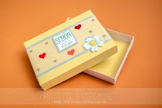 Schachtel mit Deckel, gebastelt mit dem Envelope-Punchboard von Stampin'Up! Mit genauer Bastelanleitung!