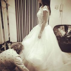 Prueba vestido de novia. #atelierbackstage #vestidodenovia #hechoamano #boda #weddinggown #handmade