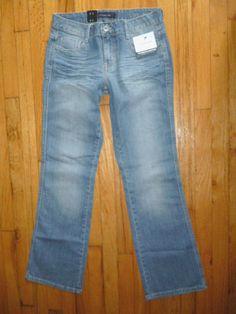 NWT Womens CALVIN KLEIN Sunrise Blue Jeans Slim Fit Bootcut Distressed 8 x 32…