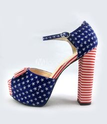 Cute Stars And Stripe Cloth Bow Ankle Strap Dress Sandals #fashion #4thofJuly