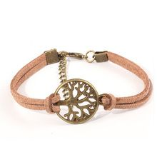 New hot venda 100% moda Vintage cadeia corda tecidos à mão pulseira de couro de Metal árvore charme pulseiras jóias para as mulheres pulseira masculina couro leather bracelet bijuterias berloque 2014 M16(China (Mainland))