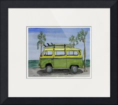 """""""VW Surf  Bus re"""" by Whitey Gilroy, Cocoa, Florida // Surf Art VW Bus and Long Boards ... by wgilroyvw busvolkswagencartransportcamper vancarstransportationclassic carvw vanautomotivevw campervintage carautomobilebeetlebusmicrobusvw camper vanpostercocoa beach // Imagekind.com -- Buy stunning fine art prints, framed prints and canvas prints directly from independent working artists and photographers."""
