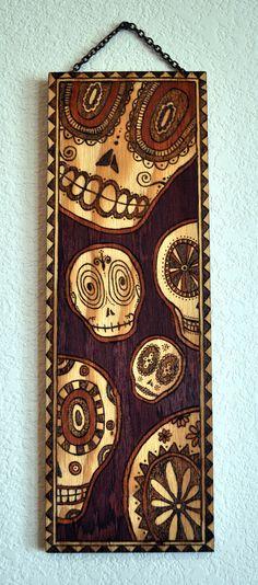 Day+of+the+Dead/Sugar+Skulls+wood+burned+wall+by+ARTholomew,+$300.00