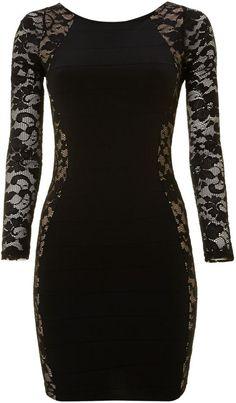 Lipsy Long sleeved lace boydcon dress on shopstyle.com.au