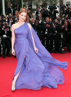 Jessica Chastain looks like a goddess in Elie Saab Couture at Cannes on May 19