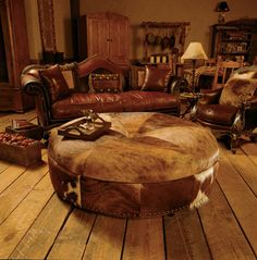 Living Room Idea Western Rooms Rustic Furniture Ottoman In
