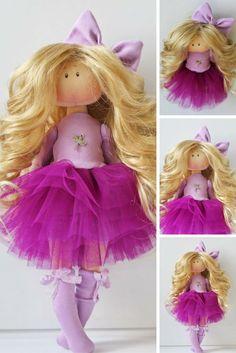 Fabric doll Handmade doll Tilda doll Interior doll Soft doll Textile doll Cloth doll Violet doll Decor doll Rag doll Baby doll by Olesya N