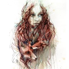 Comfort ~ artist Carne Griffiths.  Interestingly, he works primarily with calligraphy inks, graphite, and liquids such as tea, brandy and vodka.  #fox #art