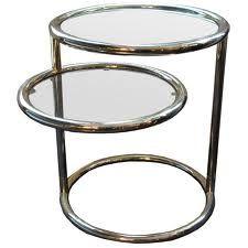 Table basse ronde en verre et métal modulable Duo collé motif et