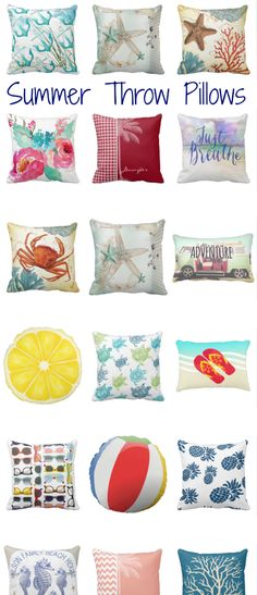 Summer Throw Pillows - perfect for a beach cottage decor!  #summerpillows