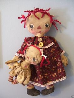 Primitive Raggedy Ann and Little Ann Doll