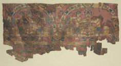 Hunters in Roundels, 8th - 9th Century Central Asia, Sogdiana, 8th - 9th century weft-faced compound twill, silk, Overall - h:26.00 w:29.00 cm (h:10 3/16 w:11 3/8 inches). Purchase from the J. H. Wade Fund 1982.284 Cleveland Museum of Art
