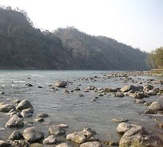 On the banks of the river Ganges as it is coming down the Himalayas at Rishikesh, Uttarakhand, India