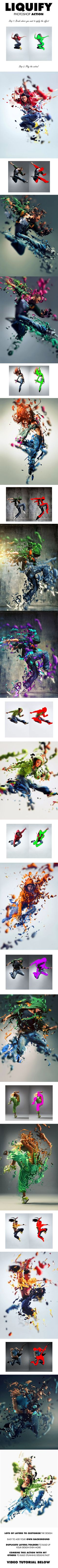 Liquify Photoshop Action - Create flowing liquid forms from your photos with this action. All you need to do is brush where you want to create the effect and click play on the action. What can you do after the action has finished? Move the parts around wherever you want Change the color of each part Rotate, scale, duplicate the layers to build up the design even more!: