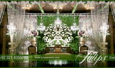 green reception stage decoration