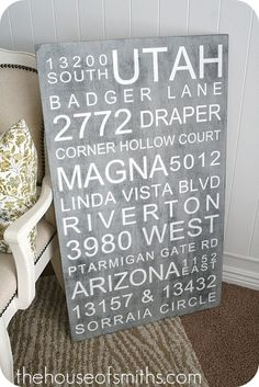 Keep seeing these, they are pretty cool...but again, what to put ON them??? Names of all my pets would fill it up.  Maybe my past addresses (might need bigger pc of plywood!)  photo from House of Smiths...