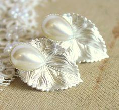 Pearls and silver tone leaf earrings 18k matt white by iloniti, $28.00