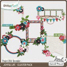 Project 2014 December: Joyful Life - Digital Scrapbook Cluster Pack. $2.99 at Gotta Pixel. www.gottapixel.net/