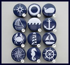 Nautical Knobs Navy Anchor Sailboat by SweetPetitesBoutique