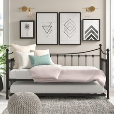Daybeds & Guest Beds - Skiros Day Bed Frame with Trundle All Home Colour: Black - Room Ideas Bedroom, Small Room Bedroom, Home Bedroom, Bedroom Decor, Small Bedrooms, Daybed Room, Daybed With Trundle, Day Bed Frame, Dream Rooms